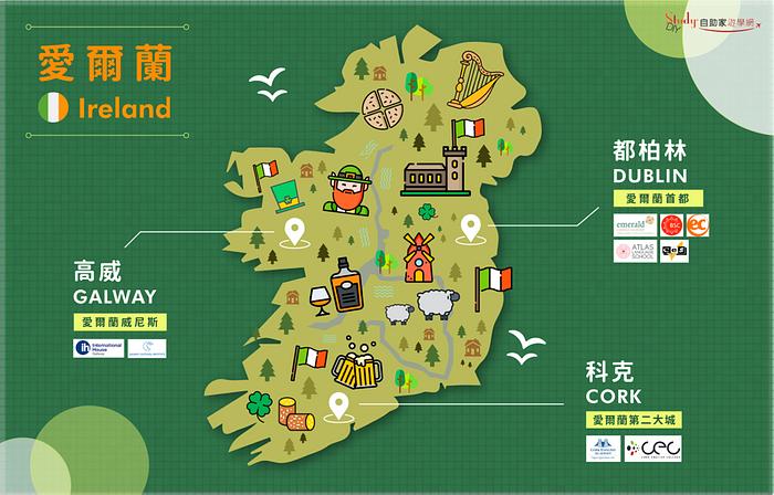 愛爾蘭25+遊學打工|愛爾蘭熱門遊學城市推薦|都柏林、高威、科克